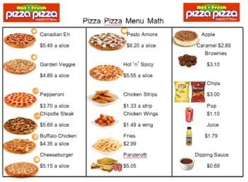 Pizza Pizza Menu Math