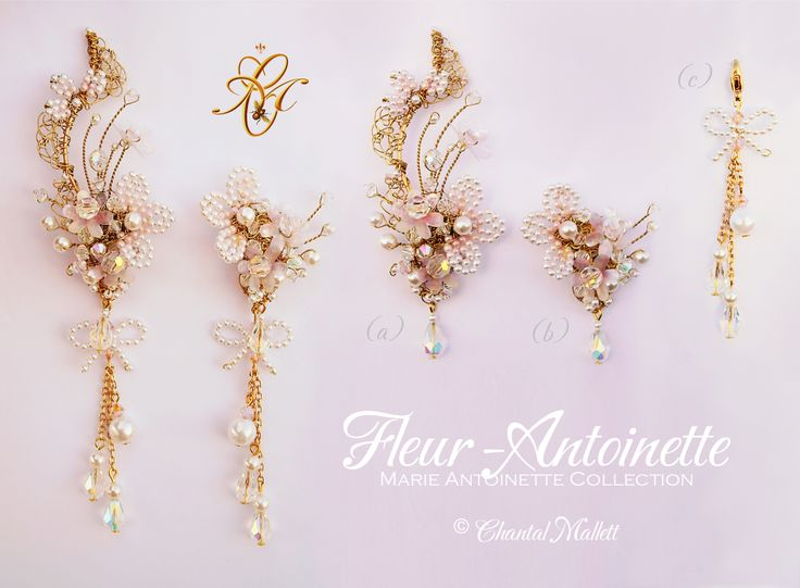Fleur-Antoinette earrings. Opulant, extravagant, hand made, special occasion earrings inspired by Marie Antoinette.  Various options available. #marieantoinette #weddingearrings #chandelierearrings
