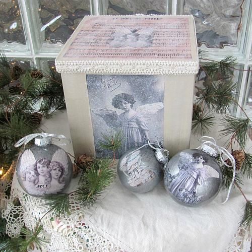 Faux Mercury Glass Ornaments and Storage Box -- Create traditional ornaments and a matching storage box.  #decoartprojects