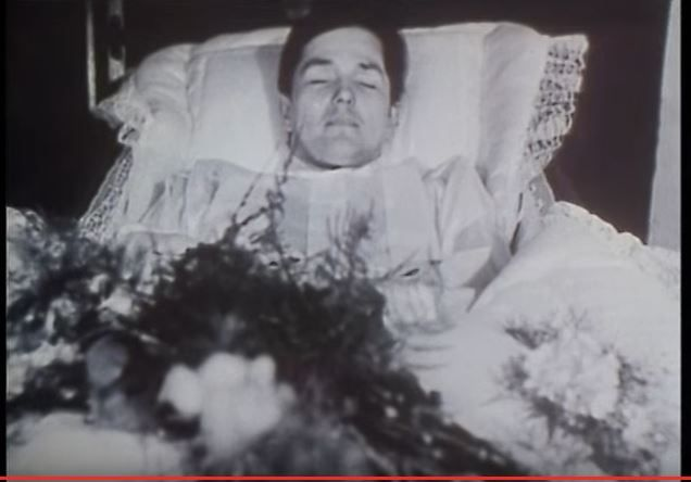 Jürgen Bartsch [1946 - 76], German serial killer and child murderer in his coffin. he died after an operation went wrong.