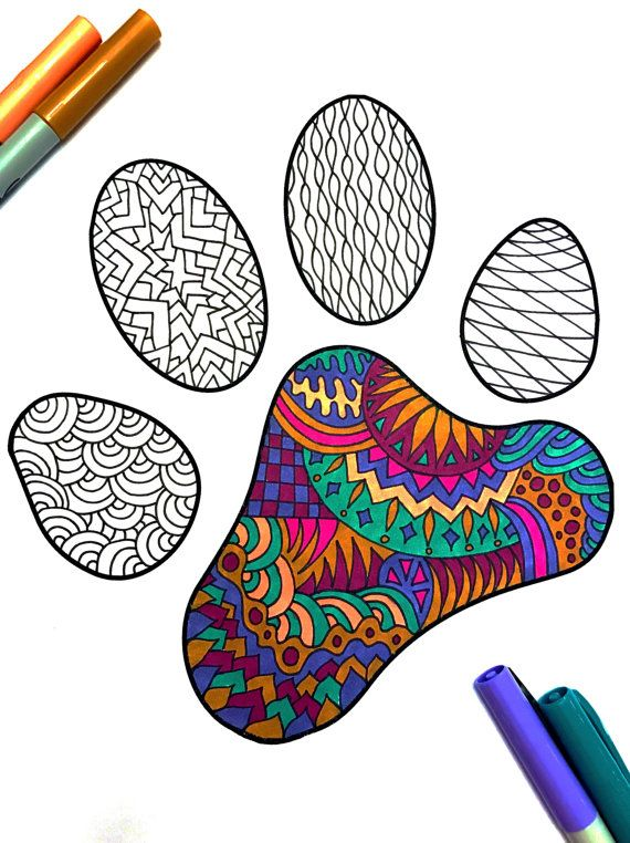 Dog or Cat Pet Paw Print  PDF Zentangle Coloring Page by DJPenscript on Etsy