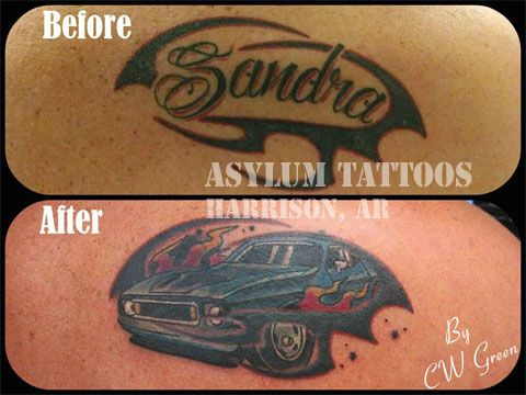 Asylum Tattoos, Harrison, AR - name to a mustang! #tattoosbyasylum #tattoos #coverup #name #mustang #car