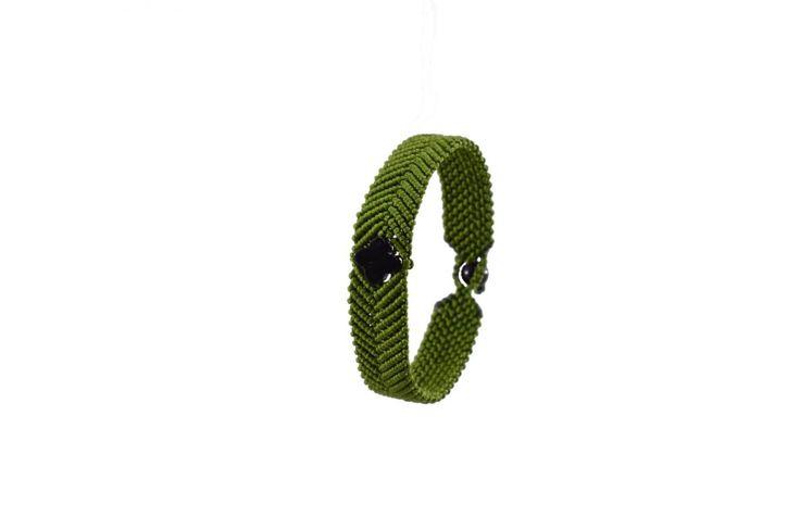 Ανδρικό πλεκτό βραχιόλι με όνυχα - Macrame bracelet for men with onyx