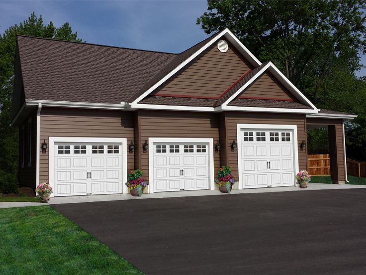 77 best 3 car garage plans images on pinterest garage for Three car detached garage plans