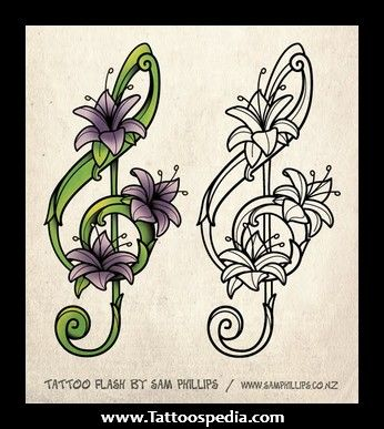 music note flower tattoo | Music Notes and Flowers Tattoos