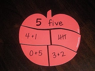 Apple puzzle....all values that add up to 5 on this one...not for preschool...but maybe for K or 1st?