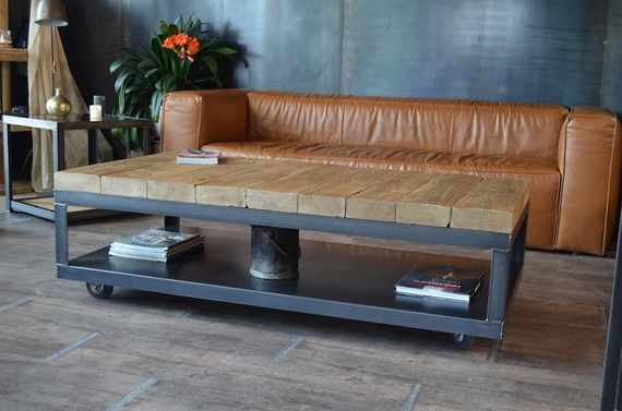 Les 54 meilleures images propos de meuble bois metal sur - Table tv a roulettes ...