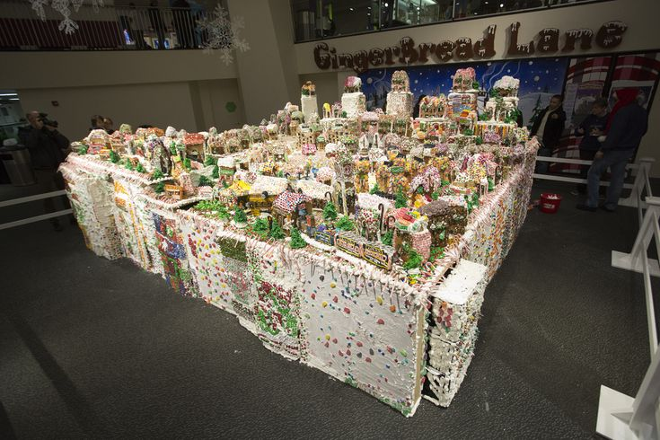 giant gingerbread village containing 152 houses, 65 candy trees, 5 candy trains, and a candy underground subway station. The Guinness Book o...