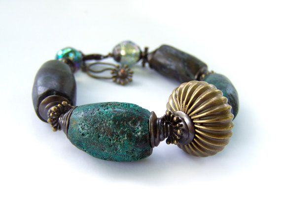Authentic turquoise bracelet ab crystal and stone by jwrayjewelry