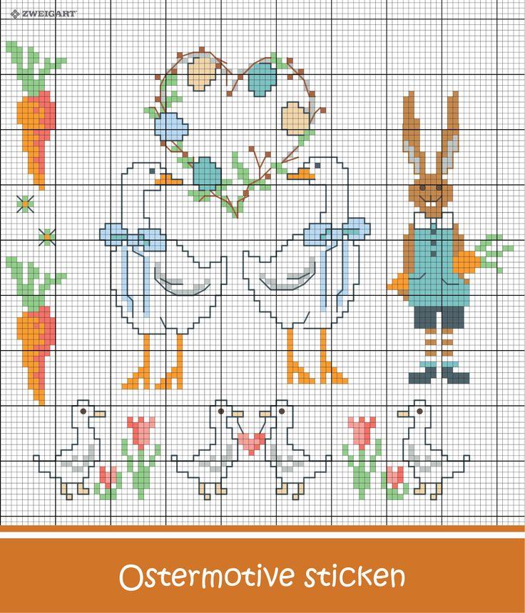 Süße Ostermotive sticken #Sticken #Kreuzstich / #Ostern; #Embroidery #Crossstitch / #Easter/ #ZWEIGART