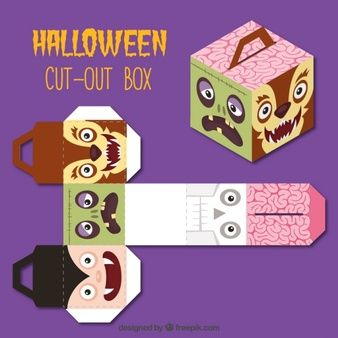 Cut out box with halloween characters