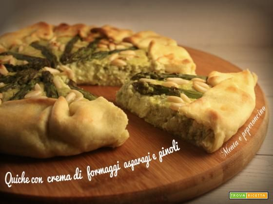 Quiche con crema di formaggi asparagi e pinoli  #ricette #food #recipes