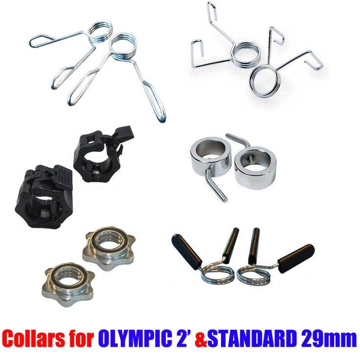 STANDARD OLYMPIC BARBELL DUMBBELL LOCK COLLARS LOCKING SPIN LOCK BAR WEIGHTS GYM   Standard spring collars and spin lock fit in: 28mm Standard Handles and Standard barbells.   Olympic Spring Collars, Lock jaw collars, compression collars fit in: 2' Olympic Handles and Olympic Barbells.