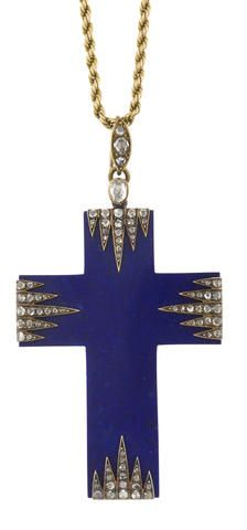 "I had just pinned this on the religious jewelry board but found myself thinking about it a lot. I think I seriously want to possess it...to hold it cupped in my hot hands and, drooling, whisper, ""Precious"", to it. It's an Art Deco lapis lazuli cross. I should have known. ~ An antique lapis lazuli and diamond cruciform pendant,"