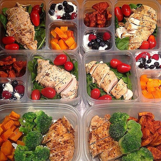 Start this week off right - start prepping your meals tonight and tomorrow so you can win all week long like @dekini_fit.  Here are THREE different meals you can prep and eat each day while you are away from home.  To keep items fresh, you can prep the food and then freeze it.  The night before you need it, put it in the refrigerator so it is good to go in the morning.