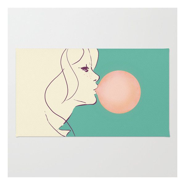 Bubble Gum Rug ($28) ❤ liked on Polyvore featuring home, rugs, machine wash rugs, chevron rugs, machine washable area rugs, weave rug and pop art