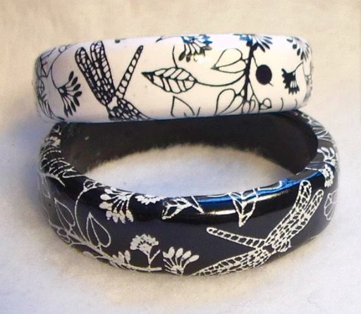 polymer clay silk screened bracelets made by Teresa Pandora Salgado, see the blog  http://www.sculpey.com/whats-black-and-white-and-cool-all-over/