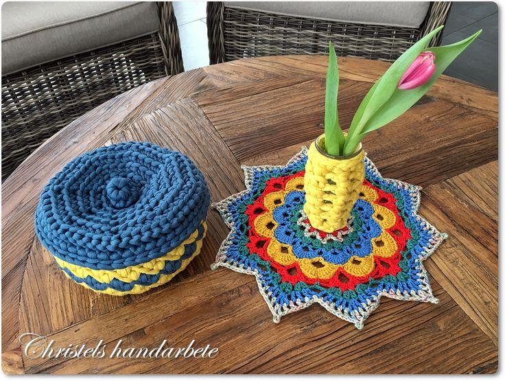 Crochet mandala, basket and vase cover. Virkad mandala, korg och vasöverdrag.