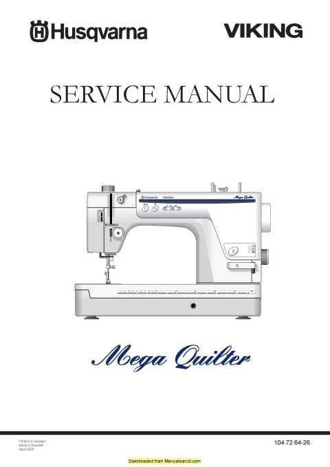 Husqvarna Viking Mega Quilter Service Manual Plus Parts