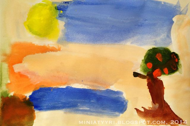 Miniatyyri : Omenapuu Intiassa - Appletree in India; Painting by a five-year-old child