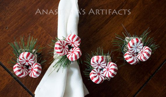 Peppermints on Pine Napkin Rings - Created Nov 17, 2015, by Anastasia's Artifacts