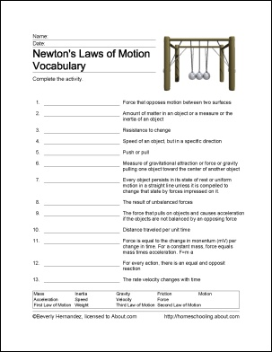 Newton's Laws of Motion Printables
