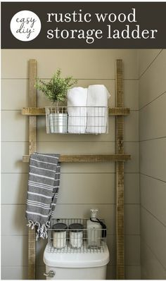 Rustic wood storage ladder over toilet.