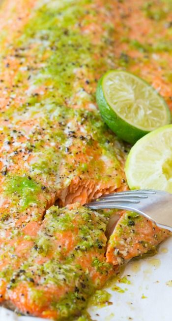 Oven Baked Salmon with Jalapeño Garlic and Lime