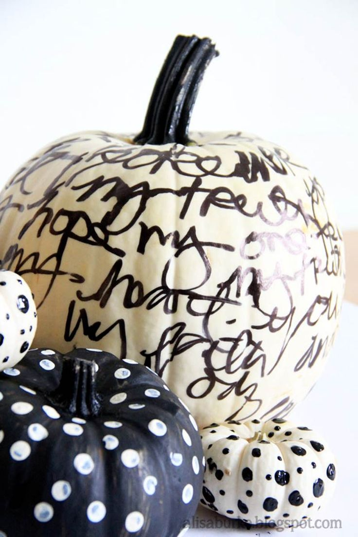 Paint pumpkin white and then write away