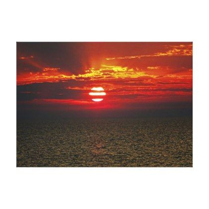 Mediterranean Sunset Canvas Print - red gifts color style cyo diy personalize unique