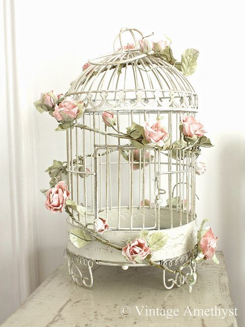 Pink Rose Garland on Birdcage....LOVE this!!