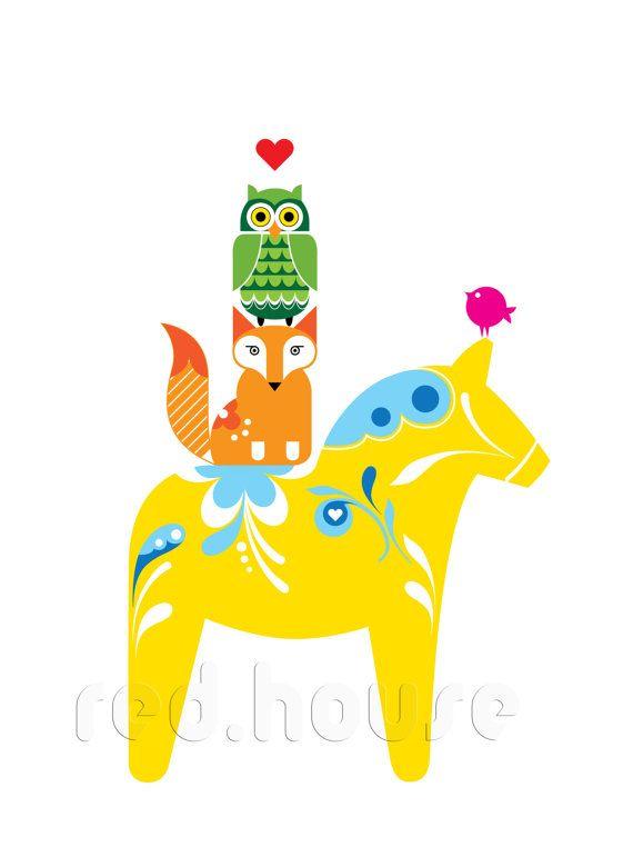 Scandia   Swedish Forest Animals, print // #dala Horse #folk Art #illustration