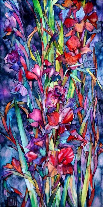 Gladioli, Watercolor and Pen