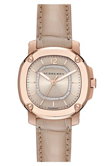 Burberry the Britain Diamond Dial Alligator Strap Watch, 34mm available at #Nordstrom