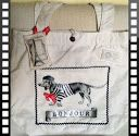 Bonjour dog shopping bag with Eiffel tower