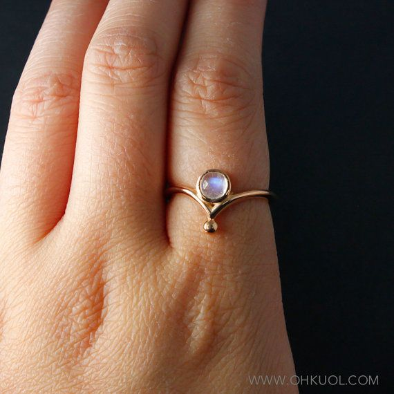 Rainbow Moonstone Crown Ring Index Finger Moonstone Ring Choose