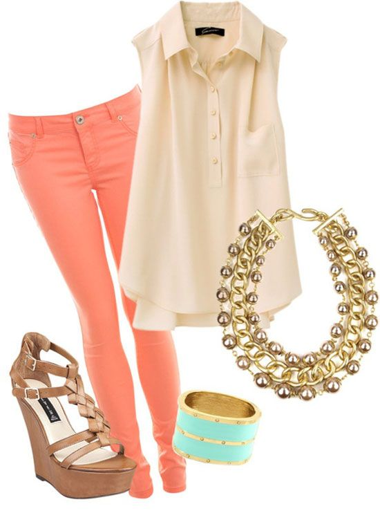 cream sleeveless blouse with coral peach pants! The perfect summer outfit! You could also switch out the heels with a cute pair of nude flats. If you would be more comfortable with that!
