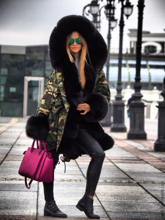 perfect army camo parka lined in thick black fox fur