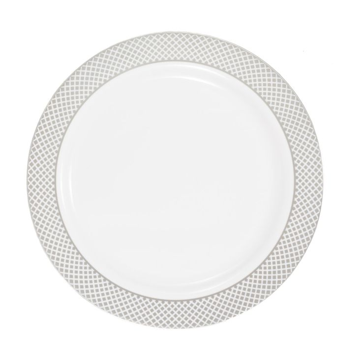 plastic 10 14 inch white dinner plate with silver diamond bandcase of 120 tags dinner plates diamond collection disposable dinner dinner