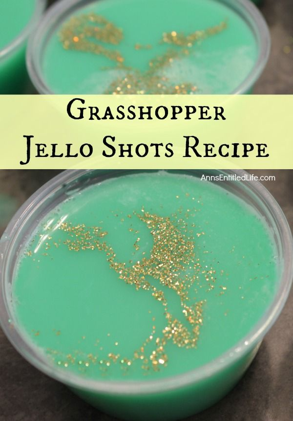 Grasshopper Jello Shots Recipe. If you like Grasshopper cocktails you will love these Grasshopper Jello Shots. Light and minty, these Grasshopper Jello Shots are a refreshing and fun shooter. Perfect for Christmas, St. Patrick's Day, or any holiday or party where you want a variety of gelatin shot recipes for your adult guests.