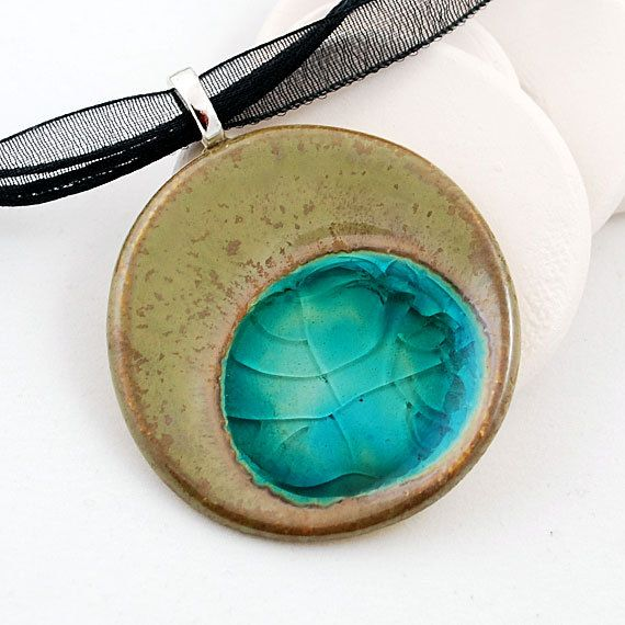 Ceramic Pendant with Recycled  Glass - Free Shipping Etsy -  Large Circle Necklace in Fossil. $28,00, via Etsy.