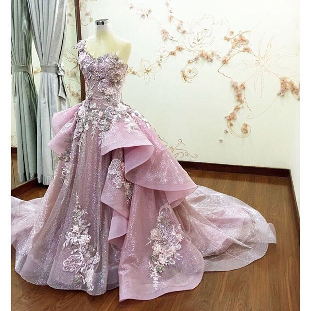 • shimmering silver floral in pink gown embed with gold swarovski crystals & pearls • by meltatan