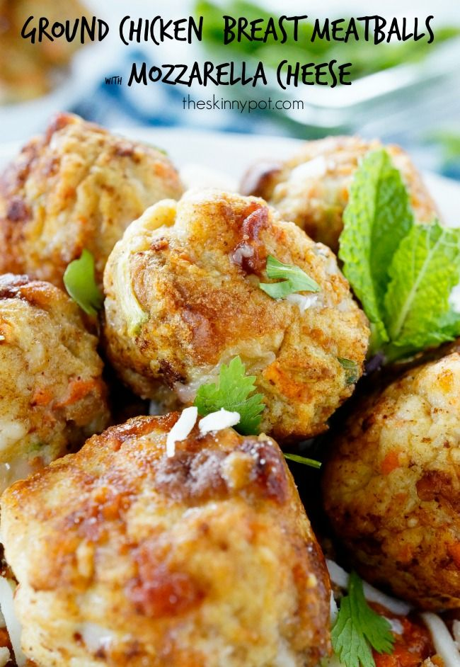 Easy,Moist , Ground Chicken Breast Meatballs with Mozzarella Cheese