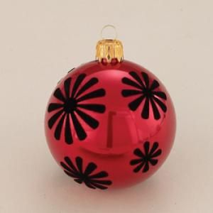 Red Decorative Balls Shatterproof Red & Black Starburst Decorative Balls  Red Black