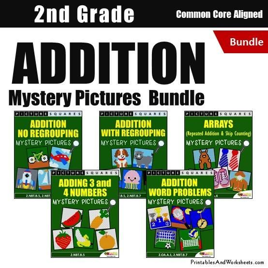 2nd Grade Addition Mystery Pictures Coloring Worksheets Bundle - Printables & Worksheets