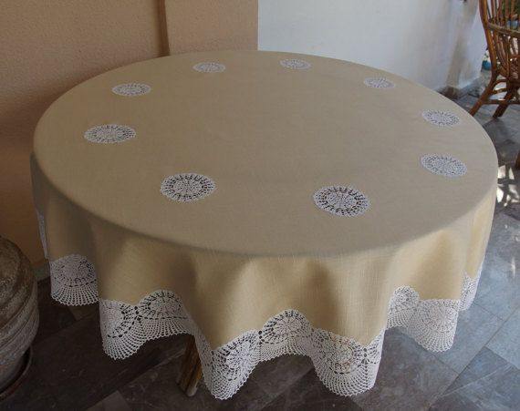 For a Classy and Eclectic Dinner.... Vintage Round Tablecloth Ecru Lace on Beige Linen  by VintageHomeStories #Round #Tablecloth #RoundTable #DinningRoom #Neutral #Anniversary #Wedding #Decor #ShabbyChic #CottageChic #Vintage #Retro