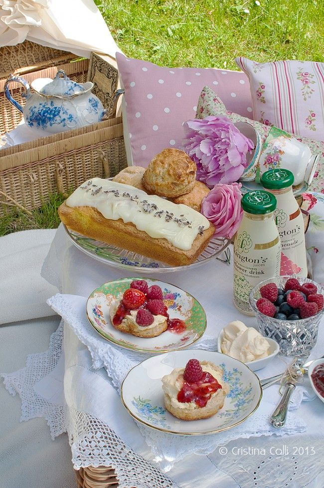 ~ My ideal of a perfect afternoon tea picnic, with custard cream, scones, sweet breads, berries... b.e.a.u.t.i.f.u.l.