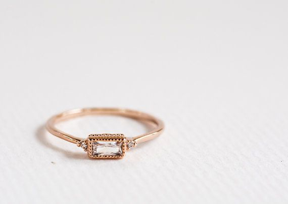 Tiny Baguette Ring  Rose Gold Baguette Ring  by shopRingadingding