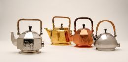 Peter Behrens electronic tea set, ca 1909. Part of the German Werbund, which intended to refine art and craft. Industrializing design (Technische Universitat  Munchen Fakultat fur Architektur, 2007)