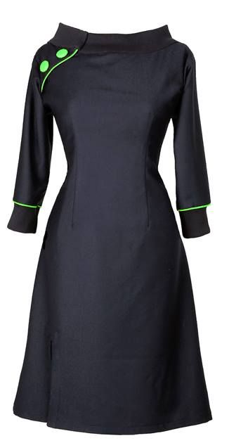 THE JEANET DRESS RETURNS http://ecouture.dk/kleider-1/jeanett-black-green.html?___store=gb&___from_store=gb  The dress is made of a stunningly beautiful wool. It is lined with a very comfortable bamboo-silk. Collar and cuffs in black cotton rib. An elasticated panel at the back and side zipper to make it more flexible.